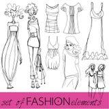 Set of illustrated elegant fashion models Royalty Free Stock Photography