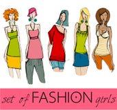Set of illustrated elegant fashion models Stock Image