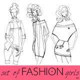 Set of illustrated elegant fashion models Royalty Free Stock Images