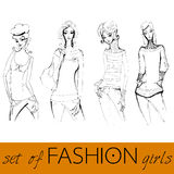 Set of illustrated elegant fashion models Stock Photography