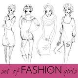 Set of illustrated elegant fashion models Stock Images