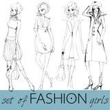 Set of illustrated elegant fashion models Royalty Free Stock Image