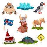 Set of illustrated Iceland sights. Vector on white background. royalty free illustration