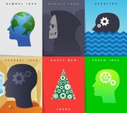Idea inside mind icons vector illustration