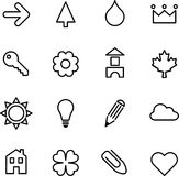 Set of illustrated icons. A set of simple black on white illustrated icons or graphics Stock Photography