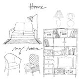 Set of illustrated interior elements Stock Photography
