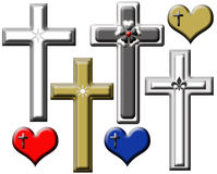 Set of Illustrated Religious Crosses. Set of decorative crosses in white, silver, gray, and gold and three hearts red, blue, and gold with crosses on them Royalty Free Stock Photos