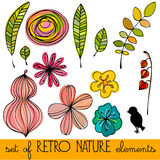 Set of illustrated retro nature elements Royalty Free Stock Image