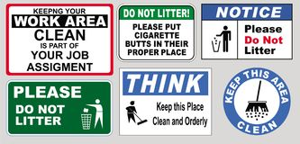 Signs to keep the workplace clean. Set of illustrated signs to help keep a workplace clean from cigarette butts and litter royalty free illustration