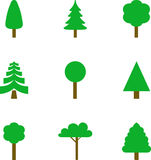 Set of illustrated trees Stock Photography