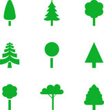 Set of illustrated trees Stock Photos