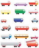 Set of illustrated vehicles. An illustrated set or collection of trucks and vehicles Royalty Free Stock Photos