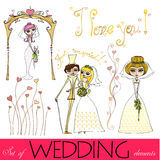Set of illustrated wedding elements Royalty Free Stock Images