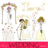 Set of illustrated wedding elements royalty free stock images