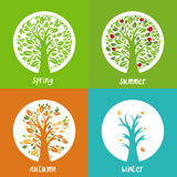 Set of illustration of apple trees in the circle. In different season time. Vector Stock Photography