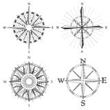 Set illustration of artistic compass. Stock Image