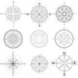 Set illustration of artistic compass. Stock Photos