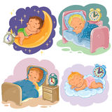 Set illustration babies sleep. Set of clip art illustration babies sleep, isolated on white Royalty Free Stock Photography