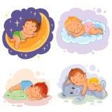 Set illustration babies sleep Stock Images