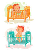 Set of illustration babies are in their beds Stock Photography