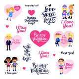 Set of illustration with boys and girls, hearts, inscriptions of congratulations. Cartoon vector flat-style design elements for Valentine`s Day, wedding and Stock Illustration