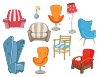 Set of Illustration chairs and armchairs  for  Computer Games Stock Image