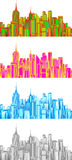 Set illustration of cityscape. Royalty Free Stock Photography