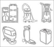 Set illustration of cleaning equipment. Black and white vector set outline icon of cleaning equipment Royalty Free Stock Photography