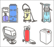 Set illustration of cleaning equipment. Colorful vector set outline icon of cleaning equipment Royalty Free Stock Photos