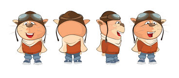 Set of  Illustration of a Cute Cat Aircraft Pilot for a Computer Game. Cartoon Character Stock Images
