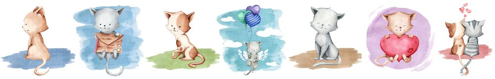 A set of illustration of cute cats in watercolor style for stickers, books, clothes, fabrics, gifts, etc.