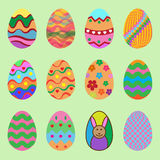 Set of Illustration easter eggs  on a green background Stock Photography