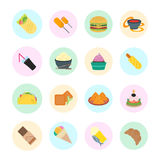 Set Vector Illustration of Fast Food. Set  illustration of fast food. Flat elements with color round backdrops on white background Royalty Free Stock Photography