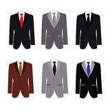 Set of 6 illustration handsome business suit. Graphic vector eps10 Royalty Free Stock Photo