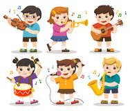 Free Set Illustration Of Kids Playing Musical Instruments. Stock Photos - 130100683