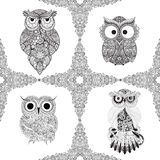 Set from illustration of ornamental owls. Set of Bird illustrated in tribal. Isolated on white. Illustration of owl. Bird illustrated in tribal.Owl whith flowers stock illustration
