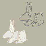Set Illustration Paper Origami Of Rabbit Vector Simple And Contour Drawing