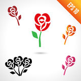 Set illustration of rose. Black, red and orange. isolated on white background vector illustration