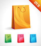 Set Illustration of a shopping bag. 3d icon. Green, orange, blue bag package isolated on white background. handbag royalty free illustration