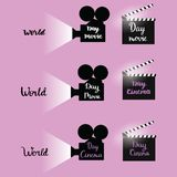 Set of  illustration silhouette cinema camera with calligraphy text congratulation to world Cinema day. December 28. Set of  illustration silhouette cinema Royalty Free Stock Photos