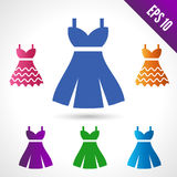 Set of illustration of a wedding dress. Green, orange, blue and red. on white background vector illustration