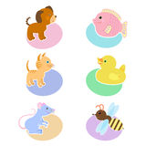 Set of illustrations with animals dog, fish, cat, duck, mouse, bee. Icon, avatar, sticker. A set of drawings with cartoon animals on the background of ovals of Stock Photos
