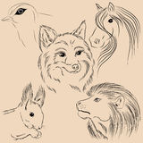 Set of illustrations animals. Wild. Forest. Monochrome. Royalty Free Stock Photos