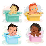 Set illustrations of babies  different races sitting in boxes Royalty Free Stock Photography
