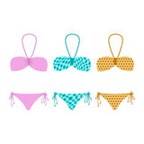 Set of illustrations bikini Stock Photography