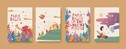 Set of illustrations for the book of fairy tales about the ancient forest. stock photos