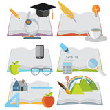 Set of illustrations. Books Stock Photos