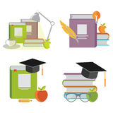 Set of illustrations. Books Royalty Free Stock Image