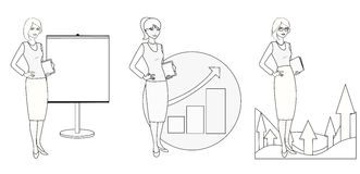 Set of illustrations of a businesswoman in a monochrome version. vector illustration