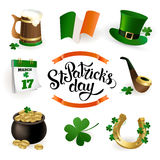 Set of illustrations for celebrating St. Patrick`s Day. Leprechaun hat, pot of gold, clover and flag Stock Photography
